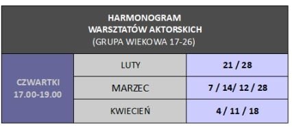HARMONOGRAM 17 - 26 luty - marzec