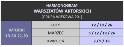 HARMONOGRAM 20 plus luty -marzec
