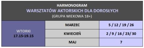 HARMONOGRAM - wtorki 17.15