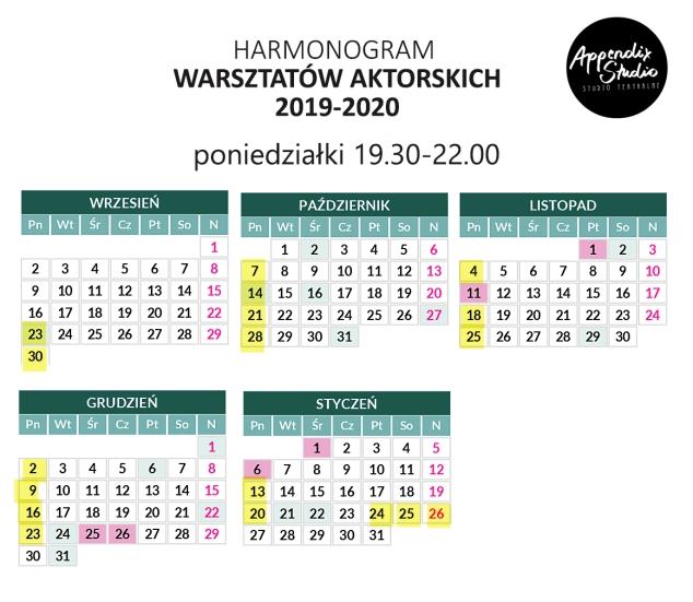 kalendarz-2019 - 2020 - gr. zaawansowana-poniedz.